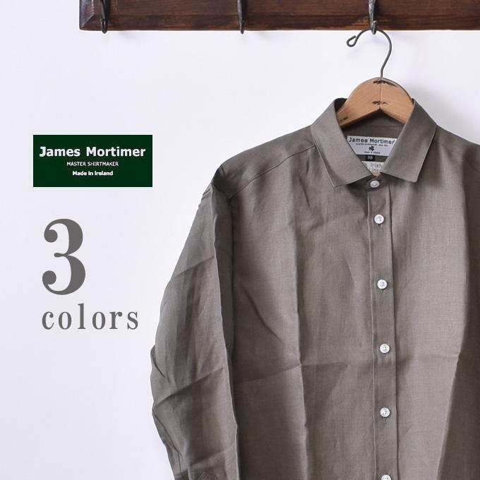 【James Mortimer】ジェームスモルティマーREGULAR COLLAR SHIRTS レギュラーカラー シャツCOMFORT FIT コンフォートフィットIRISH LINEN アイリッシュリネン 麻全3色《S-30》