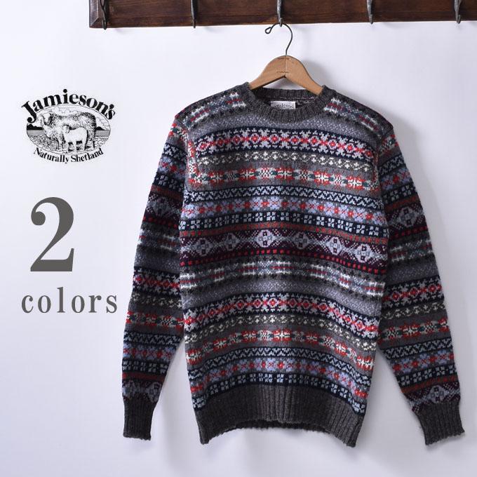 【JAMIESONS】ジャミーソンズ(ジャミソンズ)CREW NECK SWEATER クルーネックセーターフェアアイル柄全2色
