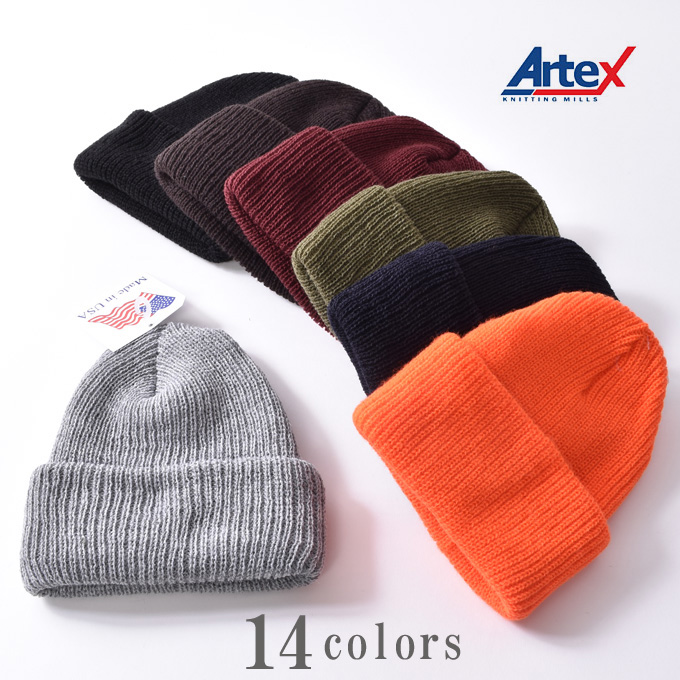 メンズ レディース ユニセックス Made in USA (アメリカ製)【Artex knitting mills】アーテックスニッティングミルズACRYLIC WATCH CAPアクリルワッチキャップ ニットキャップ全14色[ゆうパケット対応]