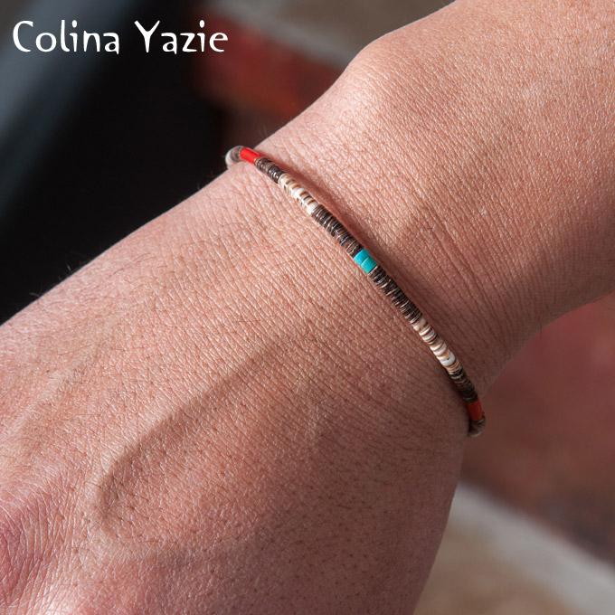 【Colina Yazzie】コリーナヤジーBeads Brac C ビーズブレスレットBaby Olive(ブラウンシェル)[ゆうパケット対応]z5x