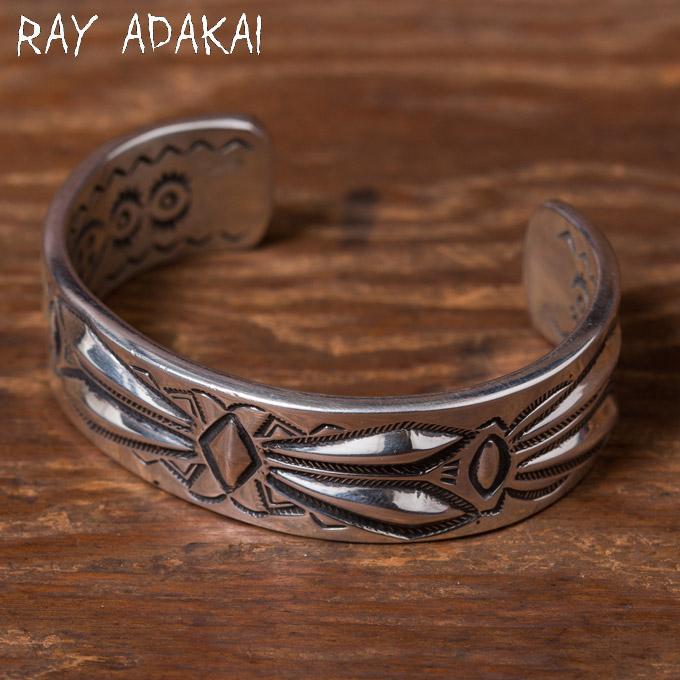 ナバホ族【RAY ADAKAI】レイアダカイDouble Stamp Bracelet 3/4inchダブルスタンプブレスレットSize S z5x