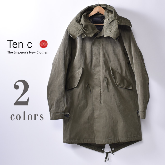 【TEN-C】テンシーPARKA with DOWN LINERパーカーダウンライナー付全2色(BLACK/CEMENT・OLIVE/BLACK)