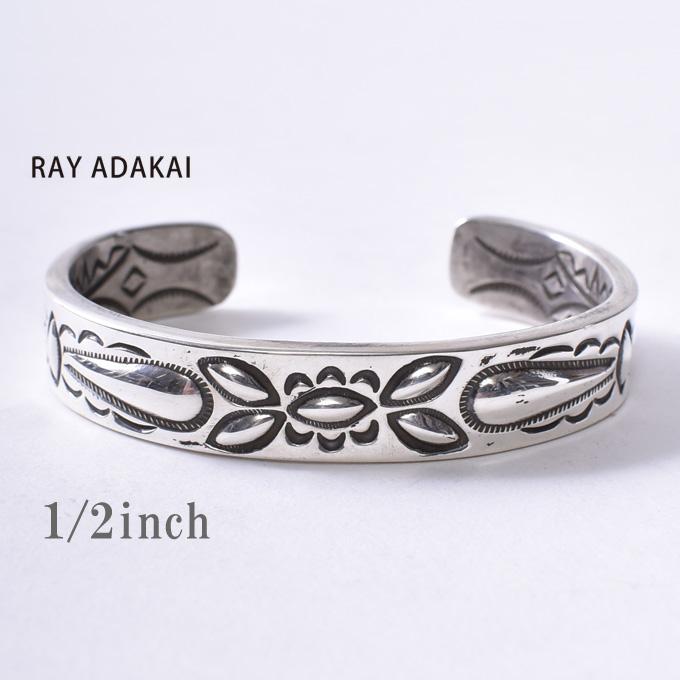 ナバホ族【RAY ADAKAI】レイアダカイDouble Stamp Bracelet 1/2inchダブルスタンプブレスレット 1/2インチSize Mz5x