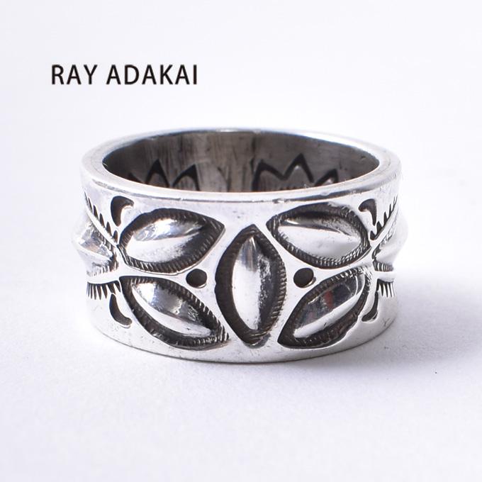 ナバホ族【RAY ADAKAI】レイアダカイDouble Stamp RingダブルスタンプリングSize M(19号)z5x