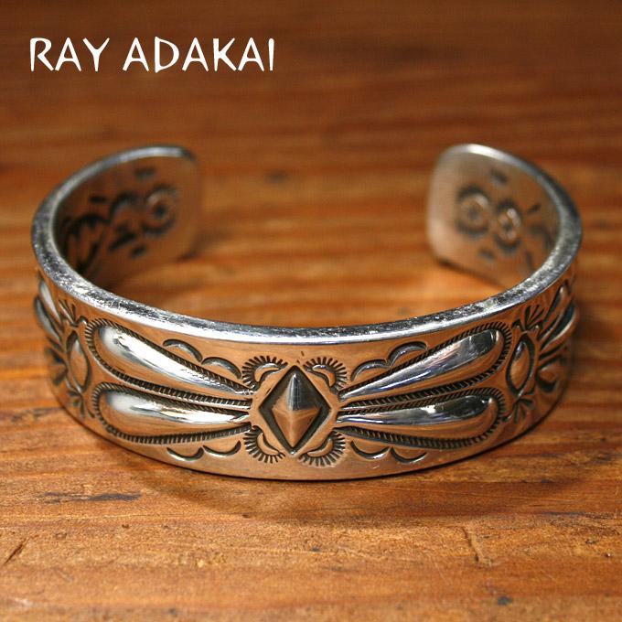 ナバホ族【RAY ADAKAI】レイアダカイDouble Stamp Bracelet 3/4inchダブルスタンプブレスレットSize L z5x