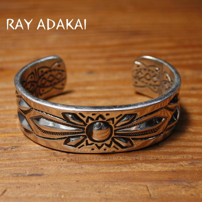ナバホ族【RAY ADAKAI】レイアダカイDouble Stamp Bracelet 3/4inchダブルスタンプブレスレットSize M z5x