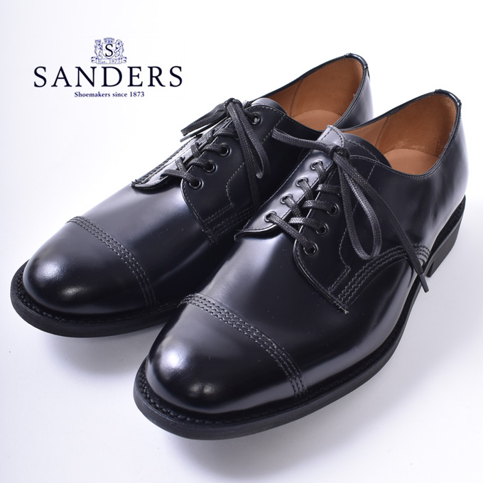 【SANDERS】サンダースTOECAP GIBSON(1128)トゥキャップ ギブソン レザーシューズBLACK ブラックz10x