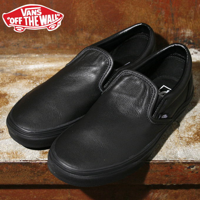Vans sneakers CLASSIC SLIP-ON classical music slip-ons PREMIUM LEATHER  premium leather BLACK MONO black c0639d532