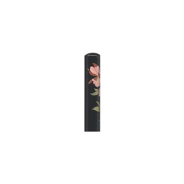 【カーネーション/花蒔絵印鑑】黒水牛 〔13.5mm丸×長さ60mm〕ケース無