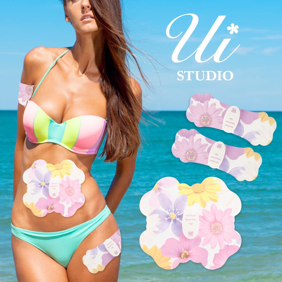 ウイスタジオ ブルームセット Ui STUDIO Bloom Set 4極+2極のセット《送料無料・メーカー保証1年》EMS/ダイエット/腹筋/筋トレ/ヘルシー/パッド/スポパッド/SPOPAD/コードレス/カワイイ/インスタ映え/Instagram