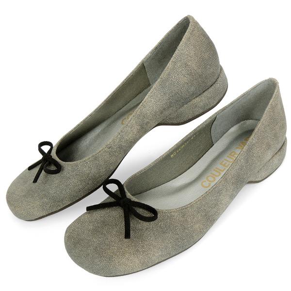 バレエシューズ オブリークトゥ パンプス 幅広 甲高 外反母趾 甲深 レディース 女性用 ヴィンテージワックスブラック 日本製 神戸靴 蒸れない におわない ブランド COULEUR VARIE 529251