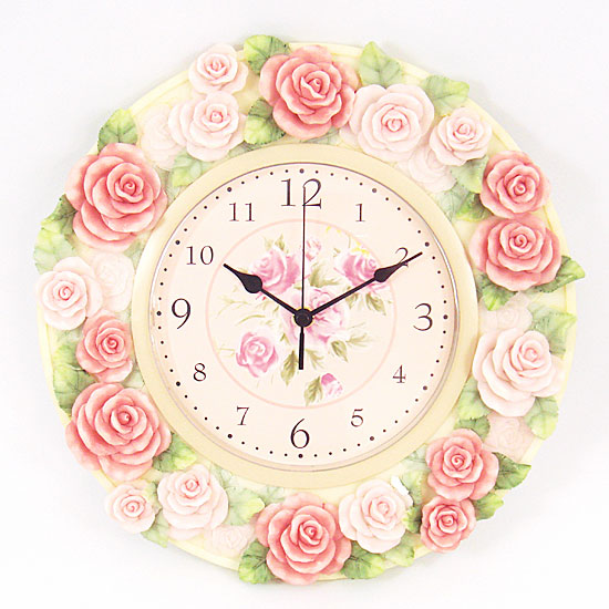 Metal round wall clock (pink pale rose)