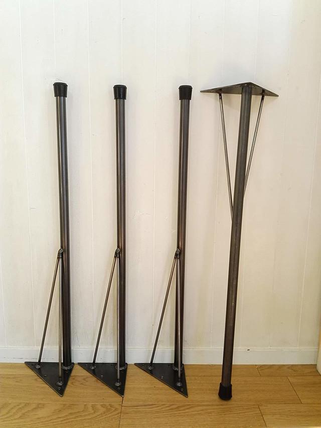 アイアンレッグ 鉄脚 インダストリアル DIY素材テーブル脚 垂直タイプ4本セット鉄足 (L) 工業系