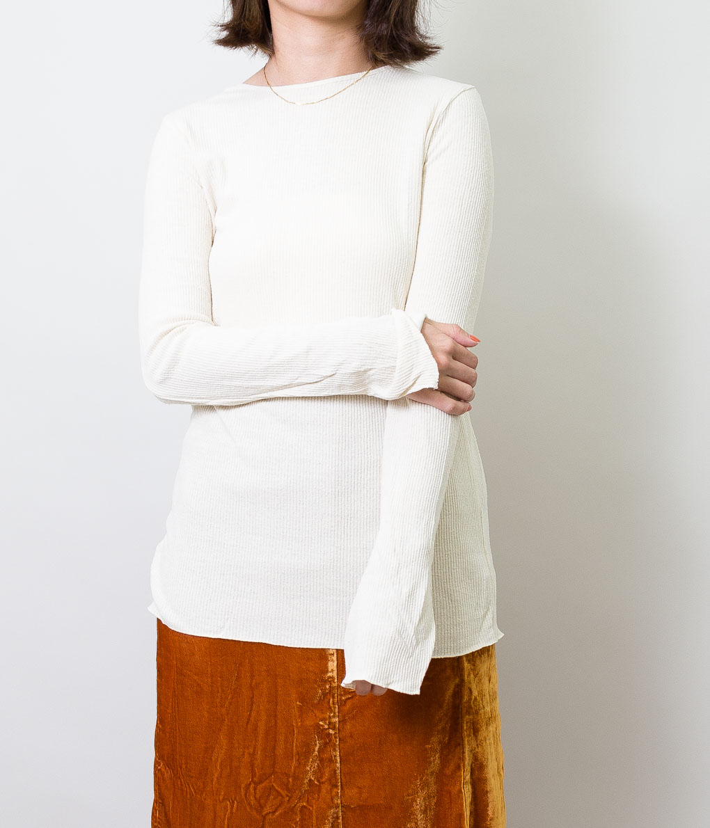 HAKUJI ハクジNOIL SILK SLIT TUNIC SILK TOPS