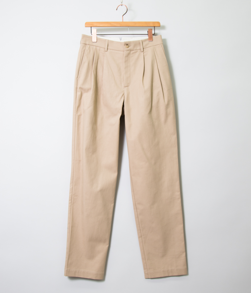 DE BONNE FACTURE デボンファクチュール ORGANIC COTTON TWILL Two Pleat Large Trousers