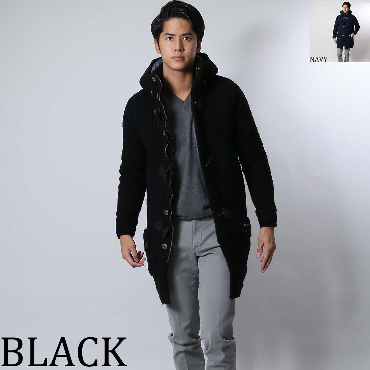 バーク BARK ロングダッフルコート ニット62b8025 BLACK/NAVY メンズ【あす楽_関西】cr