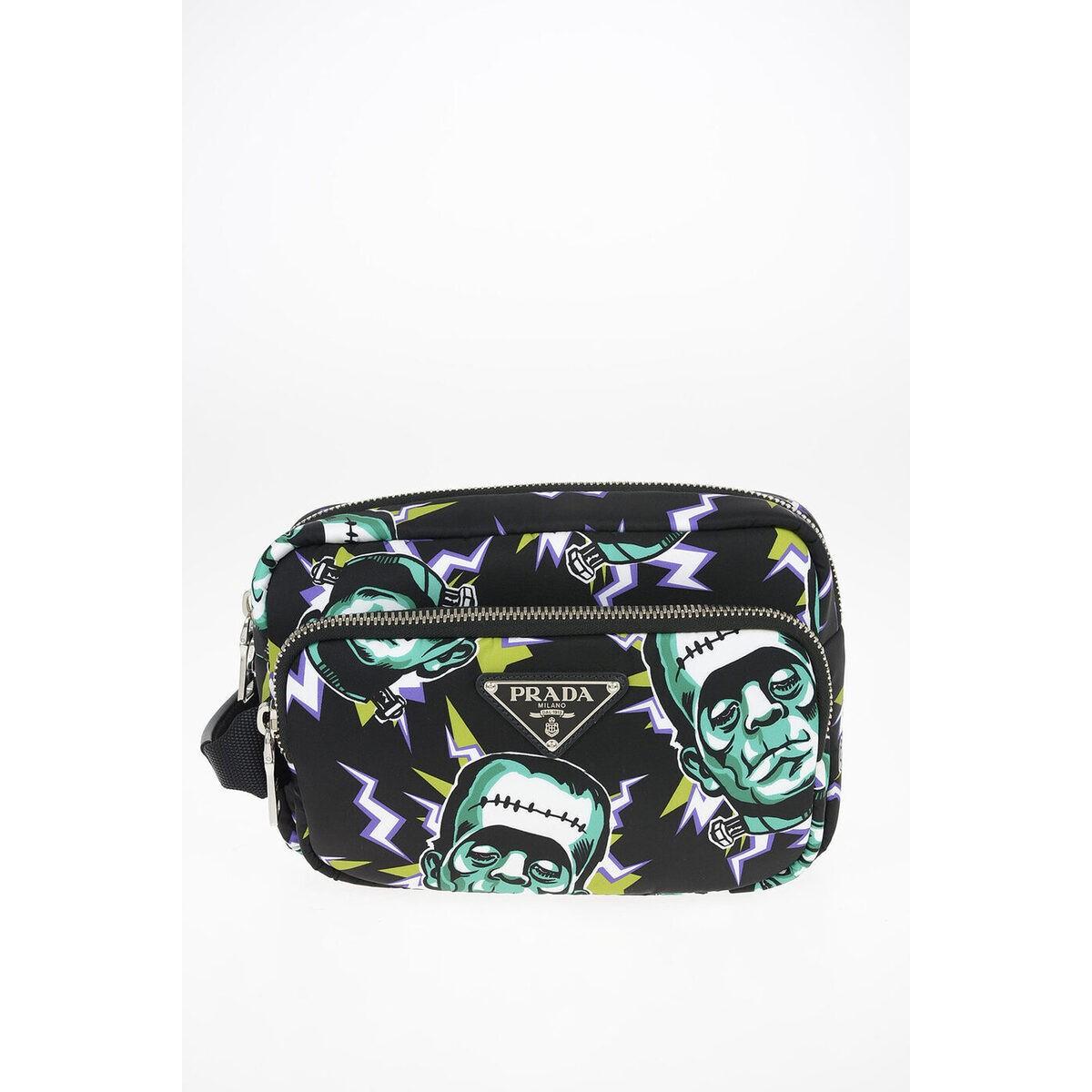 PRADA/プラダ Black メンズ FRANKENSTEIN Printed Fabric Bag with Removable Shoulder Stra dk