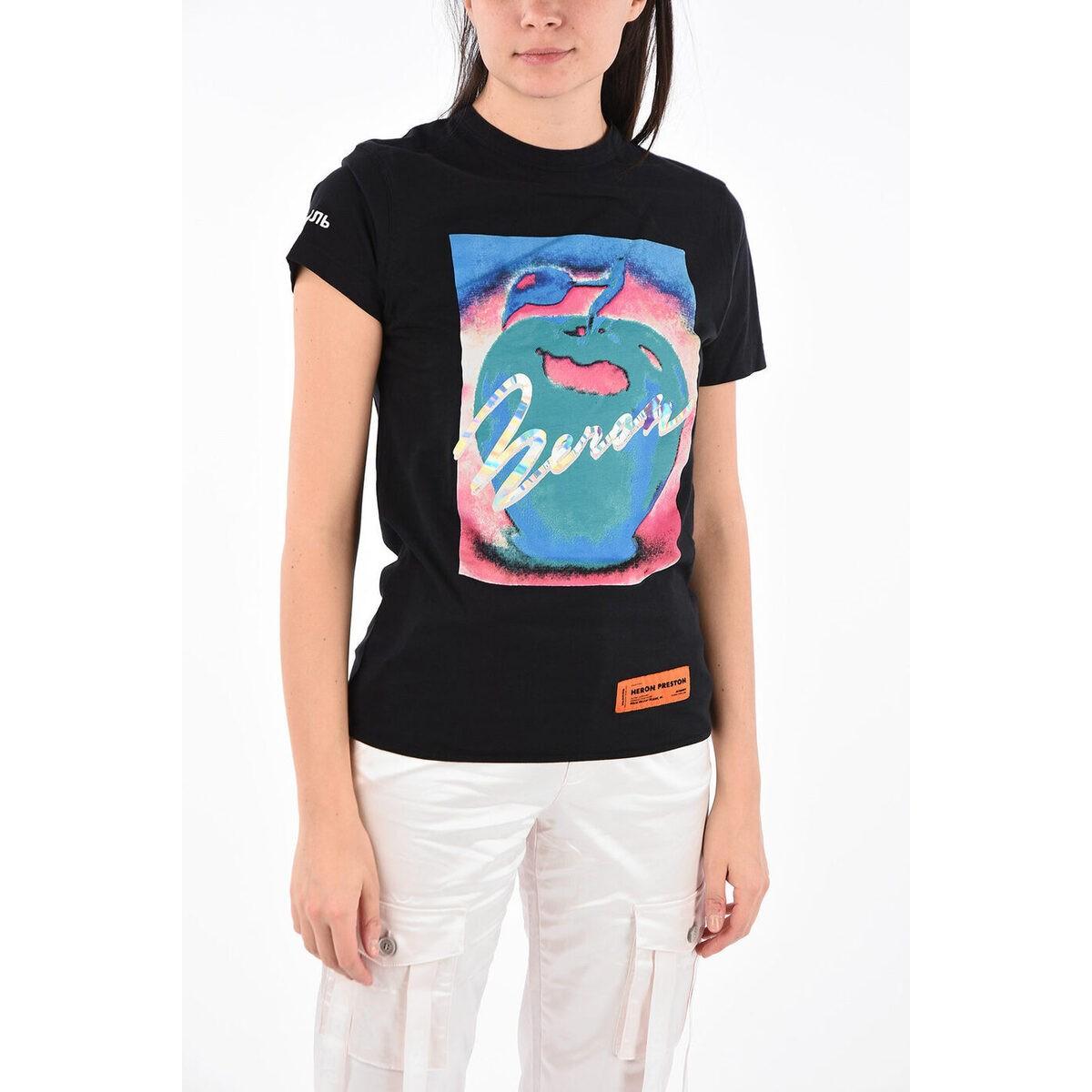 Black レディース HERON PRESTON/ヘロン Jersey dk Apple T-shirt Graphic プレストン