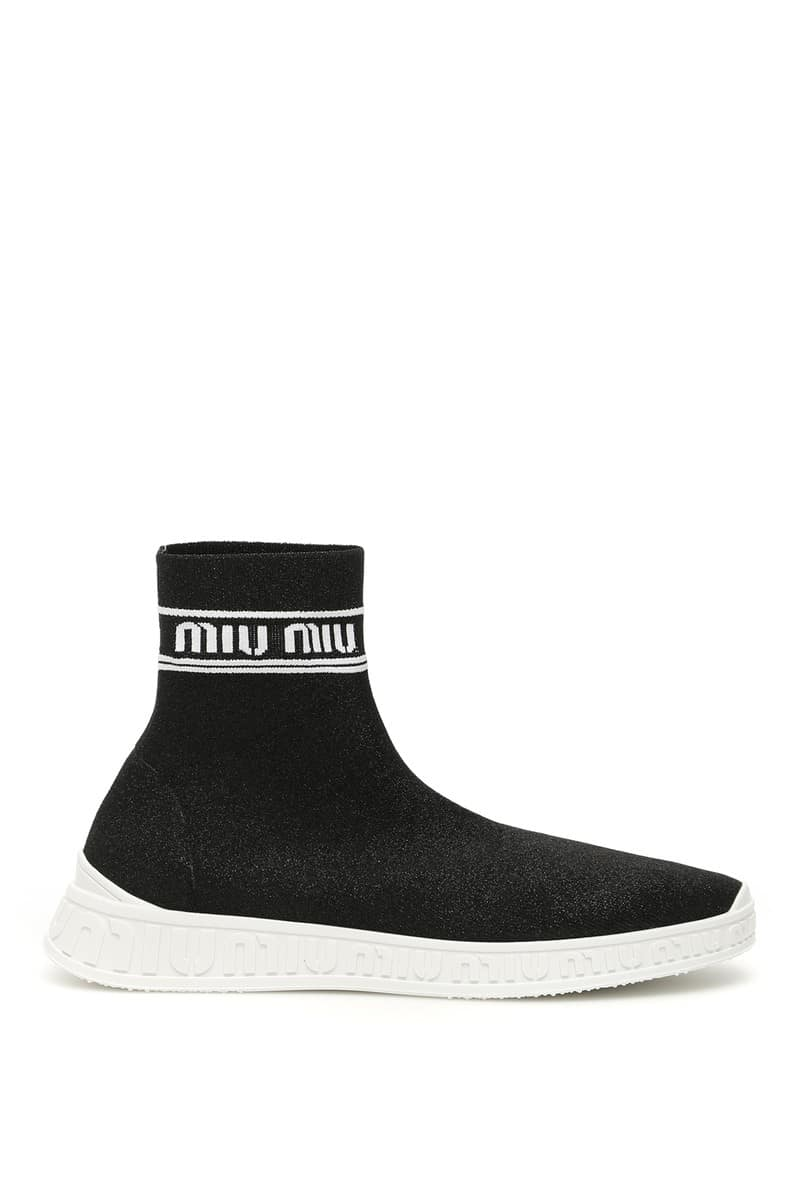 MIU MIU/ミュウ ミュウ スニーカー NERO BIANCO Miu miu logo sock sneakers レディース 秋冬2019 5T070C 3L1B ik