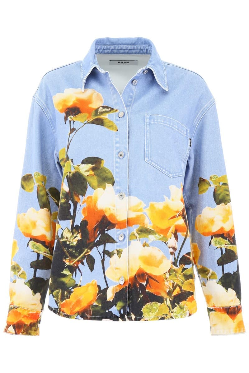 MSGM/エムエスジーエム デニムシャツ BLUE Msgm rose print denim shirt レディース 春夏2019 2642MDE142LD 195488 ik