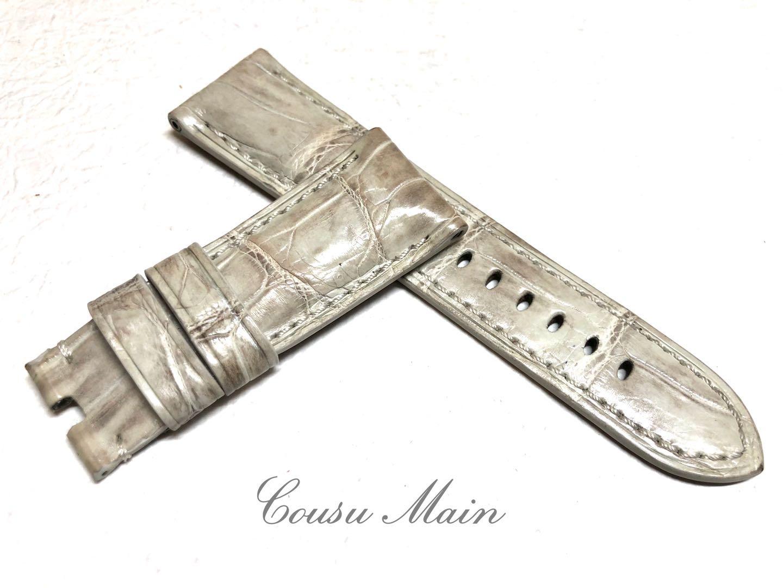 【CousuMain】26mm-22mm  クロコダイル × 特殊防水ラバーレザー 尾錠用用 クロコベルト クロコ時計ベルト(パネライ PANERAI 47mmケース)向 R537