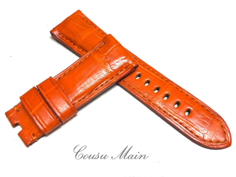 【CousuMain】26mm-22mm  クロコダイル × 特殊防水ラバーレザー 尾錠用用 クロコベルト クロコ時計ベルト(パネライ PANERAI 47mmケース)向 R543