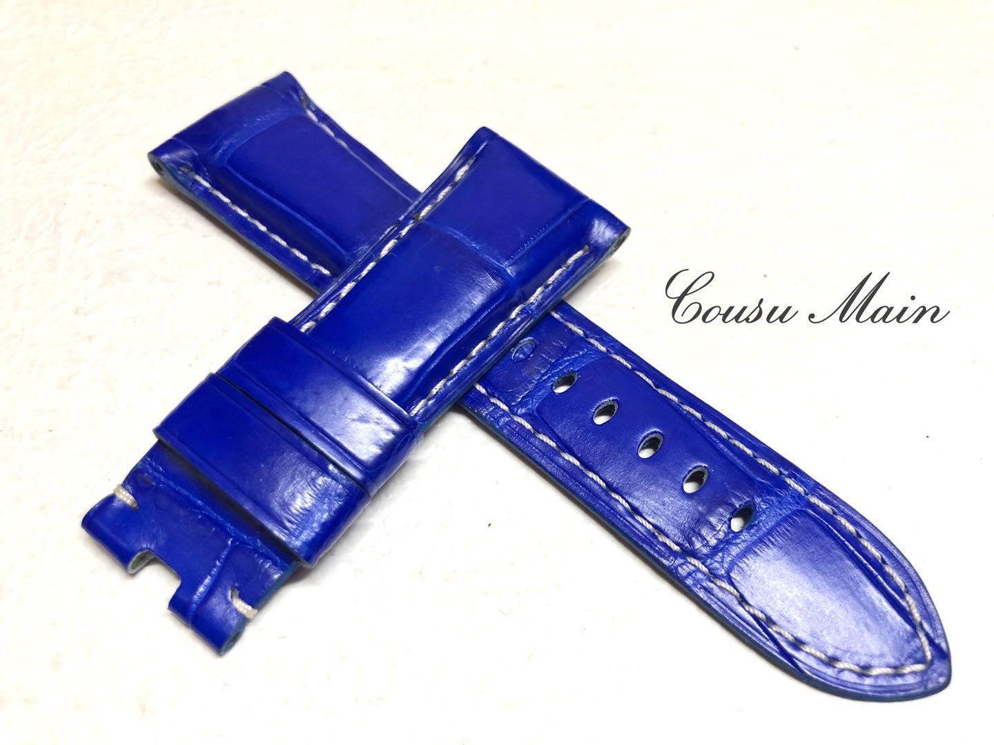 【CousuMain】26mm-22mm  クロコダイル クロコベルト 両面 手縫い Dバックル用 クロコ時計ベルト(PANERAI パネライ 47mmケース)向 R461