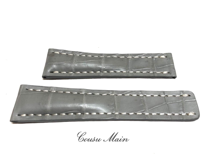 24mm-20mm クロコダイル Dバックル用 クロコベルト 両面 クロコ時計ベルト CousuMain BREITLING 新商品 向 R679 最新号掲載アイテム ブライトリング