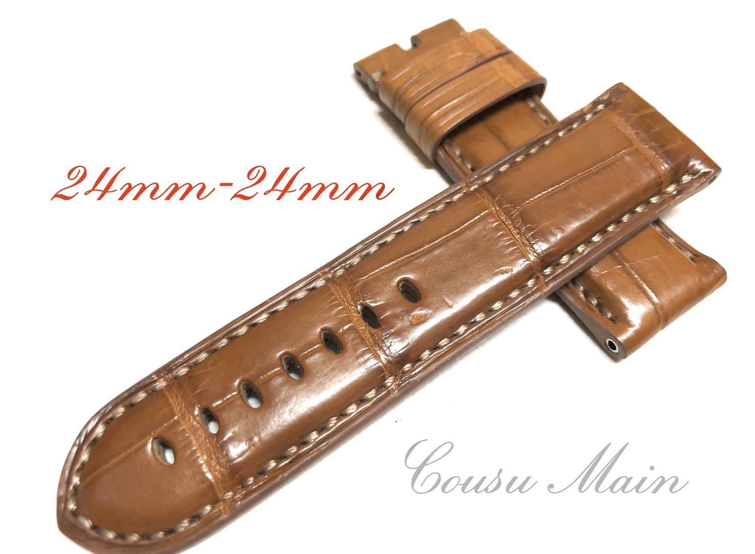 マート CousuMain 24mm-24mm 即納最大半額 クロコダイル クロコベルト 両面 尾錠用 手縫い 向 R498 PANERAI 44mmケース パネライ クロコ時計ベルト