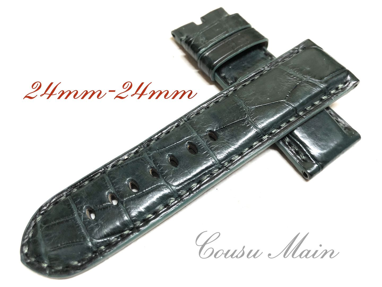 CousuMain 24mm-24mm クロコダイル クロコベルト 両面 尾錠用 手縫い 向 Seasonal スーパーセール期間限定 Wrap入荷 クロコ時計ベルト 44mmケース PANERAI パネライ R502