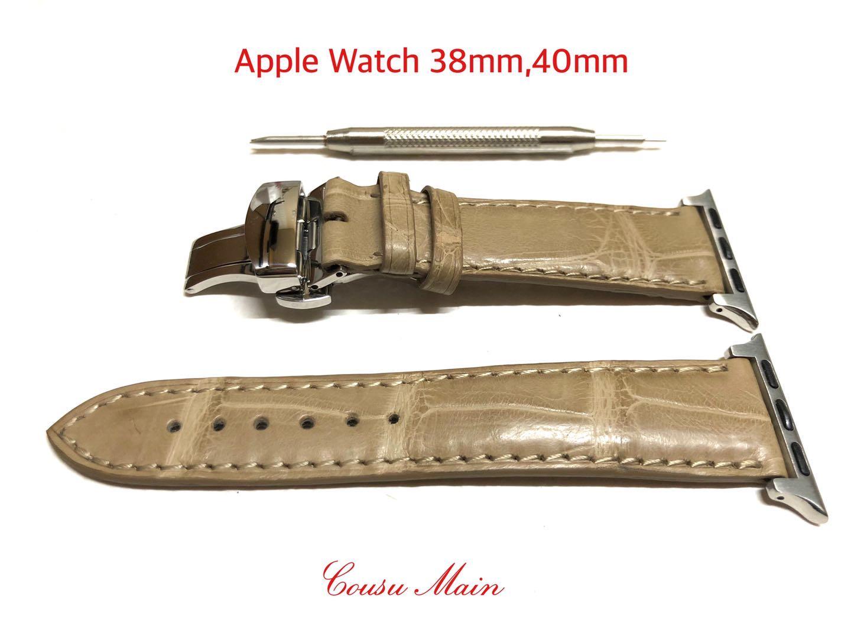 アップルウォッチ バンド ベルト apple watch series 6 SE 5 4 3 2 アダプター R716 40mm クロコ時計ベルト 18mmDバックル オンラインショップ クロコダイル 安心の実績 高価 買取 強化中 クロコベルト 両面 取付工具セット 38mm 1 CousuMain