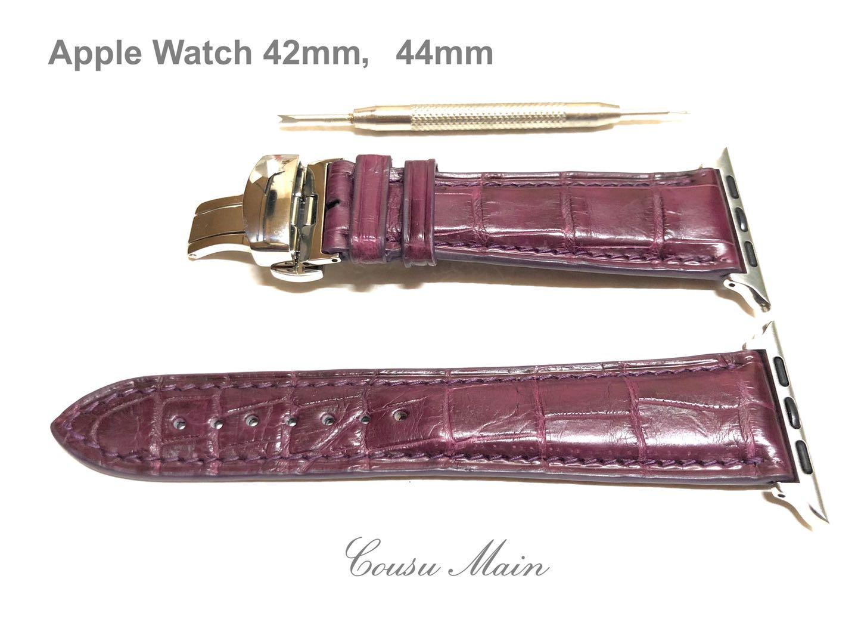 アップルウォッチ バンド ベルト 価格交渉OK送料無料 apple watch series 半額 6 SE 5 4 3 2 クロコ時計ベルト CousuMain 44mm 取付工具セット 42mm アダプター 1 クロコダイル R730 クロコベルト 両面 18mmDバックル
