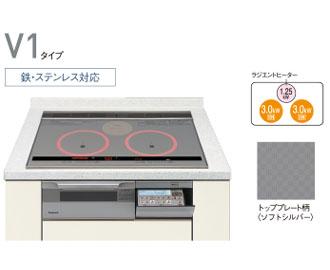 パナソニック IH キッチン クッキングヒーター ビルトインタイプVシリーズ ラクッキングリル 200V 鉄・ステンレス対応 幅75cm kzv173s