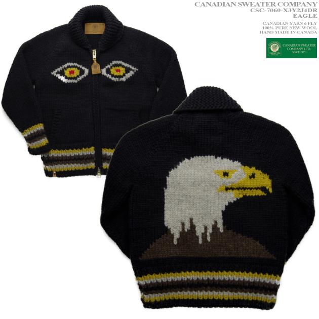 カナディアンセーター|カウチンセーター(ジャケット)|Canadian Sweater Company(カナディアン セーター カンパニー)・カナダ製|CSC-7060 EAGLE(イーグル)白頭鷲|チャコール|メンズ|ウール100%|YARN 6 PLY(6プライヤーン)|フルオープン|ジップアップ|長袖