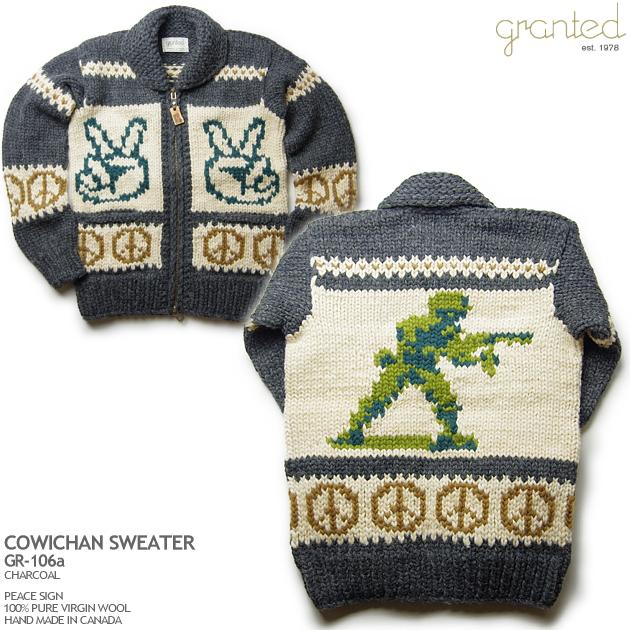 カウチンセーター|granted(グランテッド)カナダ製|GR-106a Peace Sign(ピース・サイン)|メンズ|ウール100%(100% pure new wool)|フルオープン|YKK製ジップアップ|木製ラベルの引き手(wooden zipper pull)|カウチンニット|長袖 10P11Mar16