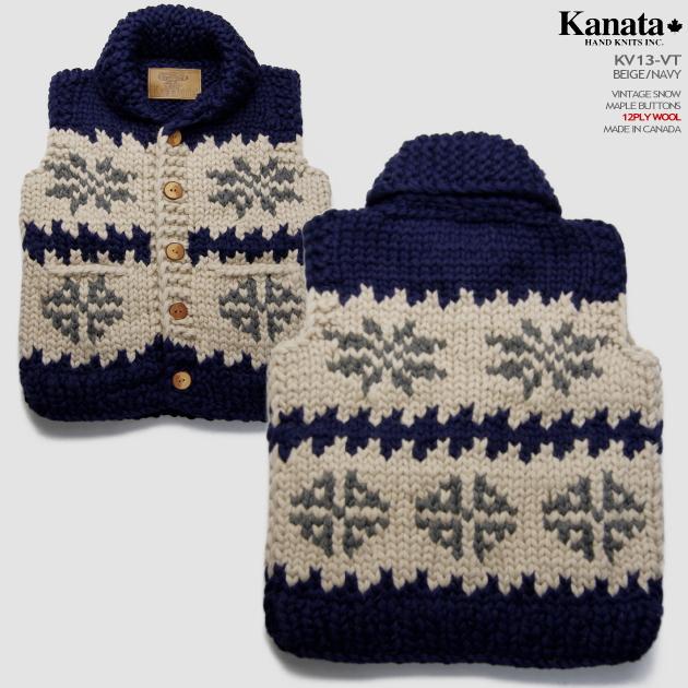 Kanata カウチンセーター(カウチンベスト) カナタ社 カナダ製 KV13V VINTAGE SNOW(ヴィンテージ・スノー)雪の結晶 ベージュ/ネイビー メンズ ウール100%(ピュアヴァージンウール) 12PLY(12本超極太撚り) フルオープン メープルボタン ノースリーブ