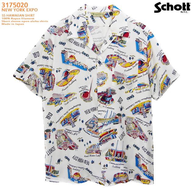 アロハシャツ|ショット(SCHOTT)SCH3175020|NEW YORK EXPO(ニューヨークエクスポ)|ホワイト|メンズ|レーヨン100%|開襟|フルオープン|半袖|アロハタワー(アロハシャツ販売)