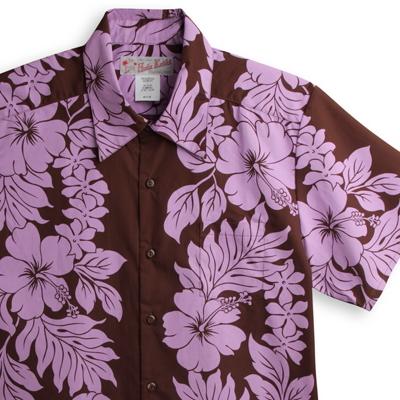 アロハシャツ・フラケイキ ハワイアン(HULA KEIKI HAWAIIAN)|マカナレイ(MAKANALEI)の姉妹ブランド|HK-H8646ハイビスカス・ブラウン|メンズ|ポリ65% コットン35%|レギュラーカラー(ノーマル襟)|フルオープン|半袖|アロハタワー(アロハシャツ販売)
