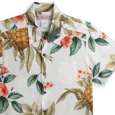 アロハシャツ・フラケイキ ハワイアン(HULA KEIKI HAWAIIAN) マカナレイ(MAKANALEI)の姉妹ブランド HK-H8648パイナップル・ホワイト メンズ rayon100%(レーヨン100%) レギュラーカラー(ノーマル襟) フルオープン 半袖 アロハタワー Aloha Shirt HULAKEIKI