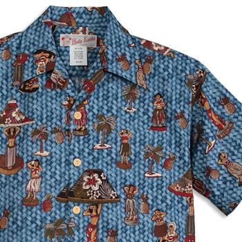 アロハシャツ・フラケイキ ハワイアン(HULA KEIKI HAWAIIAN)|マカナレイ(MAKANALEI)の姉妹ブランド|HK-18012 hula-doll(フラ・ドール)|デニム|メンズ|hawaii cotton100%(コットン100%)|開襟|フルオープン|半袖|アロハタワー(アロハシャツ販売)