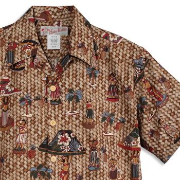 アロハシャツ・フラケイキ ハワイアン(HULA KEIKI HAWAIIAN)|マカナレイ(MAKANALEI)の姉妹ブランド|HK-18012 hula-doll(フラ・ドール)|ナチュラル|メンズ|hawaii cotton100%(コットン100%)|開襟|フルオープン|半袖|アロハタワー(アロハシャツ販売)