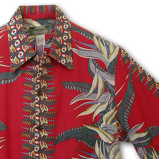 アロハシャツ|カメハメハ(KAMEHAMEHA)|kam-b バードオブパラダイス(Bird of Paradise)|レッド|メンズ|レーヨン100%(Rayon100%)|開襟(オープンカラー)|フルオープン|半袖|アロハタワー(アロハシャツ販売)