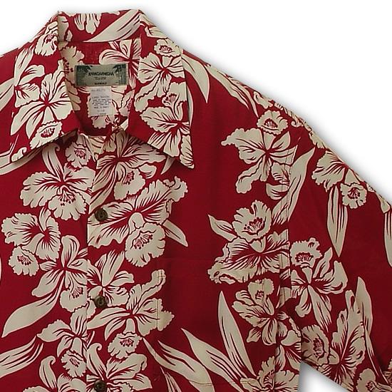 アロハシャツ|カメハメハ(KAMEHAMEHA)|kam-d オーキッド・蘭(Orchid)|レッド|メンズ|レーヨン・フジエット100%(Rayon Fujiette100%)|開襟(オープンカラー)|フルオープン|半袖|アロハタワー(アロハシャツ販売)