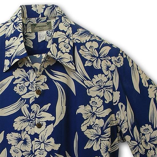 アロハシャツ カメハメハ(KAMEHAMEHA) kam-d オーキッド・蘭(Orchid) ロイヤル(ブルー) メンズ レーヨン・フジエット100%(Rayon Fujiette100%) 開襟(オープンカラー) フルオープン 半袖 アロハタワー(アロハシャツ販売)