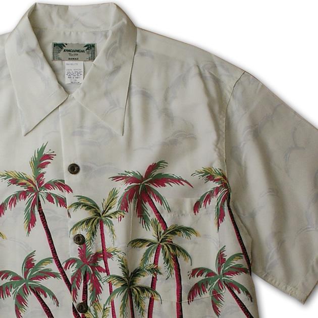 アロハシャツ|カメハメハ(KAMEHAMEHA)|kam-hp フラパーム(Hula Palm)|ホワイト|メンズ|レーヨン100%(Rayon100%)|開襟(オープンカラー)|フルオープン|半袖|アロハタワー(アロハシャツ販売)