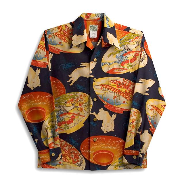 화려한 셔츠・라라 조개(LALAKAI)|HL-023 NL평안토끼・네이비|맨즈|동양풍 실크|후수천|긴소매|알로하 타워 Aloha Shirts LALAKAI 10 P11Mar16