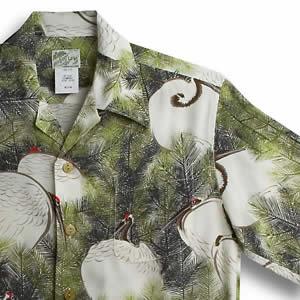 アロハシャツ・ララカイ(LALAKAI)|HL-029 鶴と松|グリーン|メンズ|縮緬(ちりめん)シルク|薄手生地|半袖|アロハタワー(アロハシャツ販売) LALA KAI
