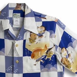 アロハシャツ・ララカイ(LALAKAI)|HL-030 龍宮城|ブルー|メンズ|縮緬(ちりめん)シルク|薄手生地|半袖|アロハタワー(アロハシャツ販売) LALA KAI