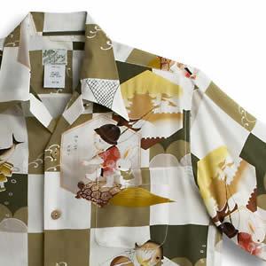 アロハシャツ・ララカイ(LALAKAI)|HL-030 龍宮城|グリーン|メンズ|縮緬(ちりめん)シルク|薄手生地|半袖|アロハタワー(アロハシャツ販売) LALA KAI