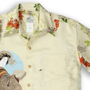 アロハシャツ・ララカイ(LALAKAI)|HL-059EX 花魁と桜|アイボリー|メンズ|平織りジャガードシルク|薄手生地|半袖|アロハタワー(アロハシャツ販売)